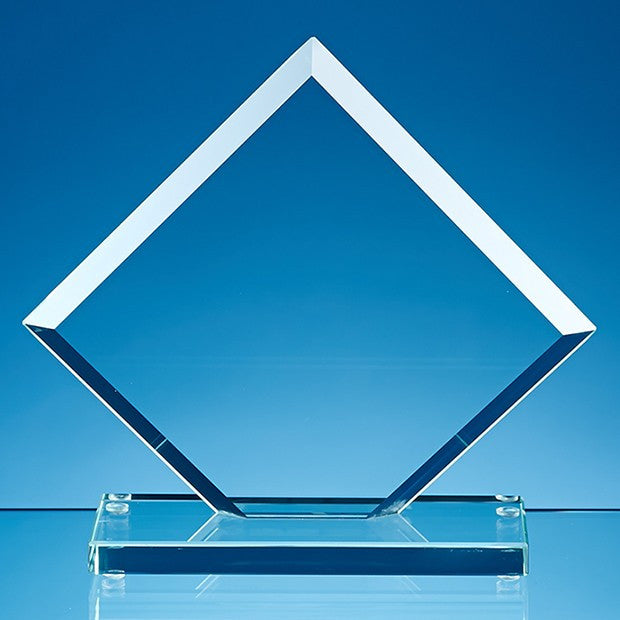 Jade Glass Facet Clipped Square Award - Bracknell Engraving & Trophy Services