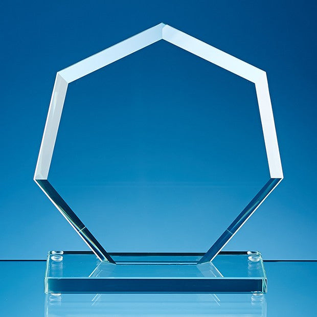 Jade Glass Facet Heptagon Award - Bracknell Engraving & Trophy Services