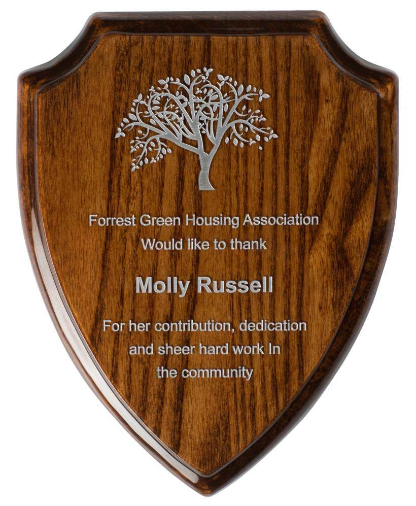Gloss Walnut Finish Shield Plaque - Bracknell Engraving & Trophy Services