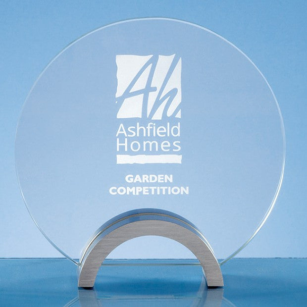 Clear Glass Circle on an Aluminium Base Trophy - Bracknell Engraving & Trophy Services
