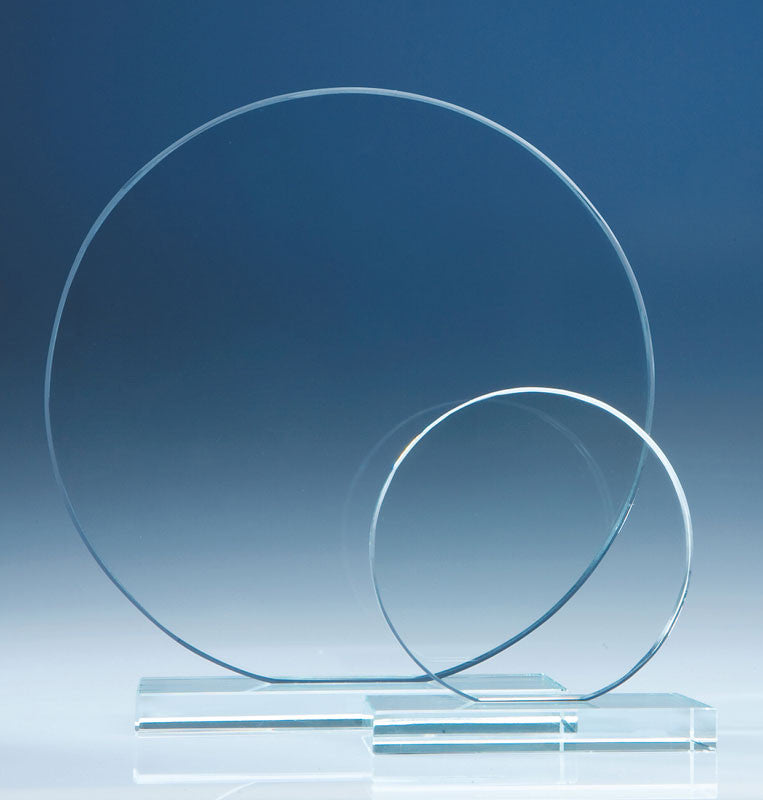 Clear Glass Circle Award - Bracknell Engraving & Trophy Services