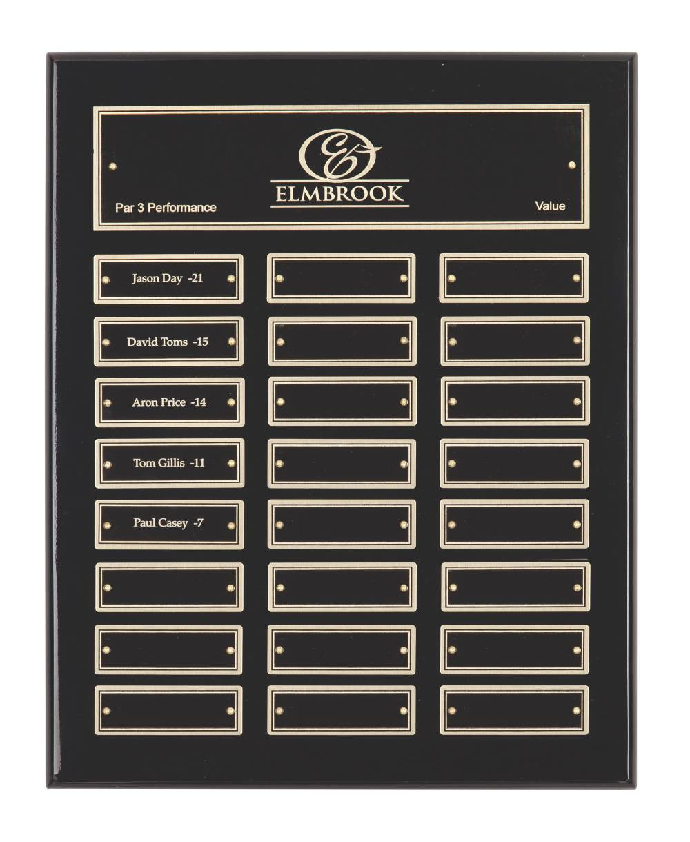 Gloss Black Plaque - 24 Records - Bracknell Engraving & Trophy Services