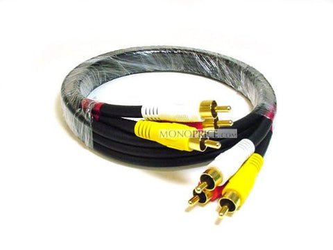Monoprice 102196 3-Feet Triple RCA Stereo Video Dubbing Composite Cable (3 x RG59U Cable )