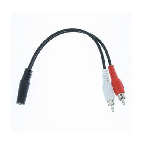 Skque 3.5mm stereo Female to 2 RCA Male Cable  (6Inch / 18cm)