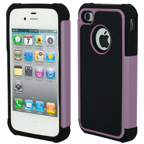 Skque Hybrid Silicone Hard Case Cover for Apple iPhone 4 4S, Hot Pink