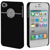 Skque Rubberize Hard Case Cover with Chrome Trimming for Apple iPhone 4 4S, Black