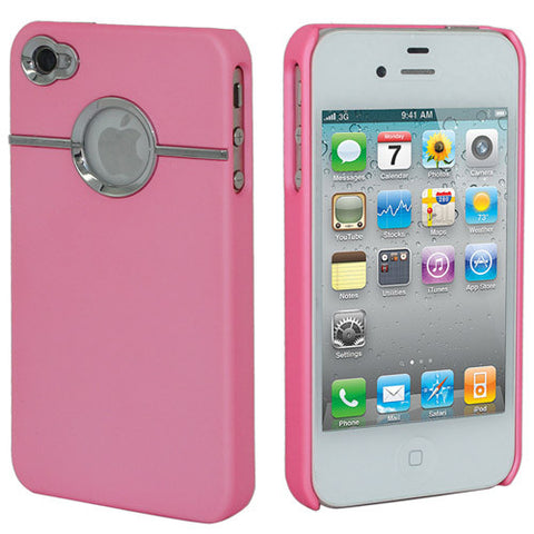 Skque Rubberize Hard Case Cover with Chrome Trimming for Apple iPhone 4 4S, Hot Pink