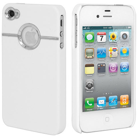 Skque Rubberize Hard Case Cover with Chrome Trimming for Apple iPhone 4 4S, White