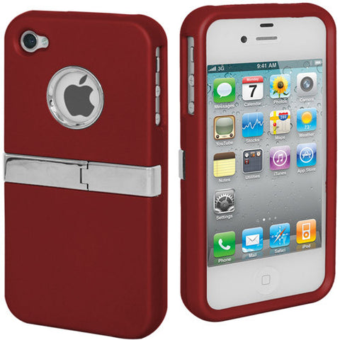 Skque Rubberize Hard Case Cover Chrome Trimming with Stand for Apple iPhone 4 4S, Red