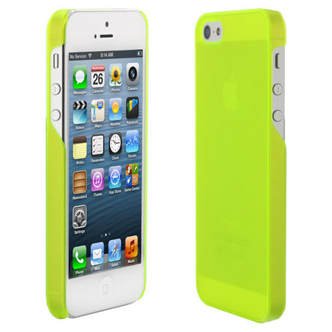 Skque Ultra Thin 0.8mm Transparent Crystal Case for Apple iPhone 5, Neon Green