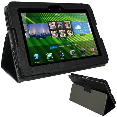 Skque Black Leather Case for BlackBerry Playbook Tablet