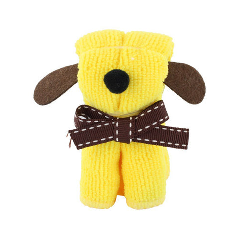 Skque Mini Dog Shape Cute Lovely Bathing Towel Washcloth-color in yellow