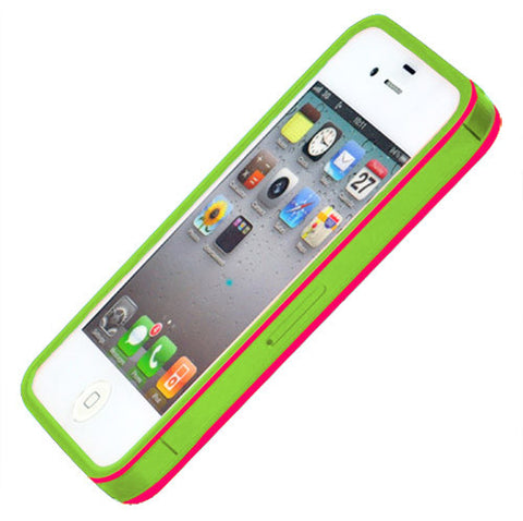 Skque Ultra-thin Hard Case Cover with Exchangeable Colorful Soft Edge for Apple iPhone 4/4S,Green,pink