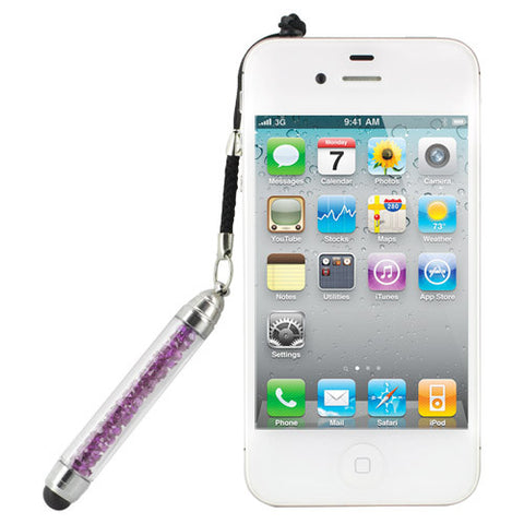 Skque 2 in 1 Bling Crystal  Stylus Pen and 3.5mm Dustproof Plug for iPad iPhone iPod Touch Samsung HTC, Purple
