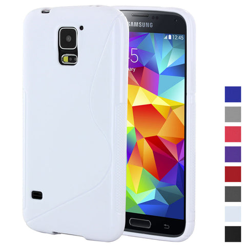 Galaxy S5 case,Skque® Soft Gel S Line Wave Shape TPU Skin Protector Case Cover for Samsung Galaxy S5, White