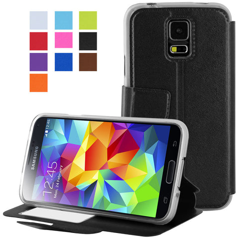 Galaxy S5 case,Skque® Flip Magnetic PU Leather TPU Protector Case Cover for Samsung Galaxy S5, Black