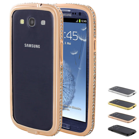 Skque Aluminium Frame with Bling Crystal Rhinestone Bumper Case Cover for Samsung Galaxy S3 I9300
