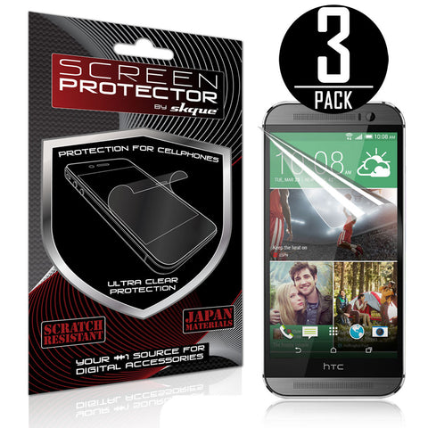 Skque® Anti Scratch Screen Protector for All New HTC One M8 (3 Pack)