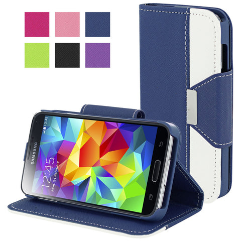 Galaxy S5 case,Skque®Flip Magnetic PU Leather PC Protector Case Wallet for Samsung Galaxy S5, Dark Blue
