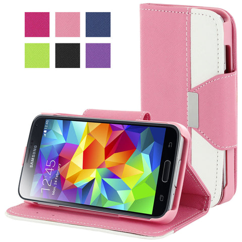 Galaxy S5 case,Skque® Flip Magnetic PU Leather PC Protector Case Wallet for Samsung Galaxy S5, Pink