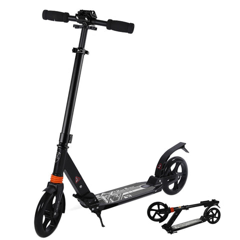 Skque® Dual Suspension Foldable Adult Kick Scooter with Handle Clasp