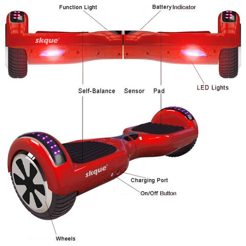 "Skque® 6"" Hoverboard with Bluetooth Speaker and Side LED - I1.3 (The Original) - (UL2272 Certified)"