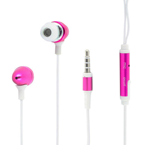 Skque 3.5mm Remote Mic Metal Earphone for iPhone 3G/3GS/4G/4S-color in pink