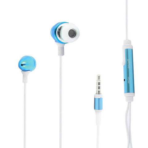 Skque 3.5mm Remote Mic Metal Earphone for iPhone 3G/3GS/4G/4S-color in blue