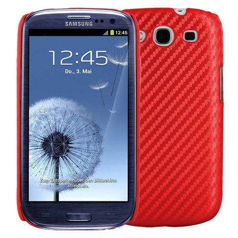 Galaxy S3 I9300 case,Skque®Carbon Fiber Style Hard Case Cover for Samsung Galaxy S3 I9300, Red