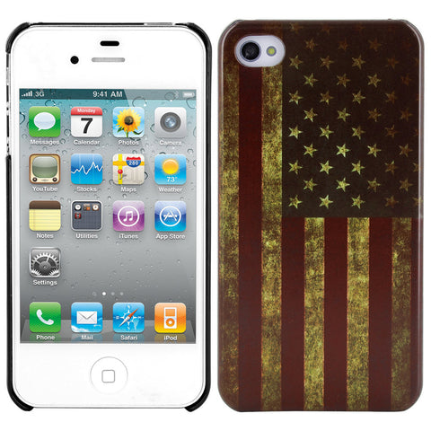 Skque庐 Vintage US Flag Pattern PC Protector Back Case Cover for Apple iPhone 4/4S