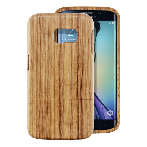 Skque® Handmade Natural Wooden Case for Samsung Galaxy S6 Edge, Zebrano