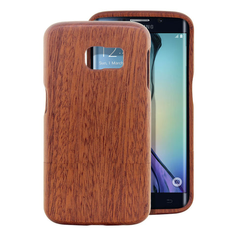 Skque® Handmade Natural Wooden Case for Samsung Galaxy S6 Edge, Sapele