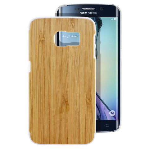 Skque® PC Hard Case with Natural Wooden for Samsung Galaxy S6 Edge, White Bamboo