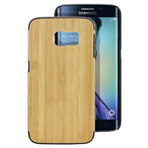 Skque® PC Hard Case with Natural Wooden for Samsung Galaxy S6 Edge, Black Bamboo