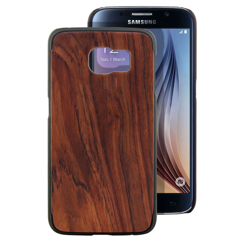 Skque® PC Hard Case with Natural Wooden for Samsung Galaxy S6, Rosewood