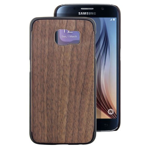 Skque® PC Hard Case with Natural Wooden for Samsung Galaxy S6, Hu Wood