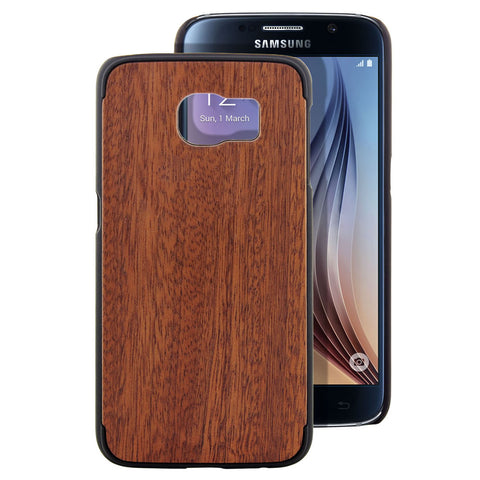 Skque® PC Hard Case with Natural Wooden for Samsung Galaxy S6, Sapele