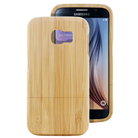 Skque® Handmade Natural Wooden Case for Samsung Galaxy S6, Bamboo