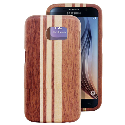 Skque® Handmade Natural Wooden Case for Samsung Galaxy S6, Maple and Sapele