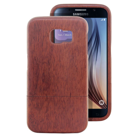Skque® Handmade Natural Wooden Case for Samsung Galaxy S6, Rosewood