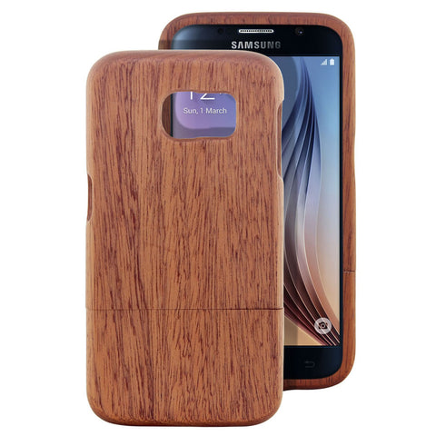 Skque® Handmade Natural Wooden Case for Samsung Galaxy S6, Sapele