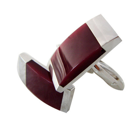 Skque New Classic Elegant Stylish Men's Business Suit Wedding Party Cufflinks, Dark Red