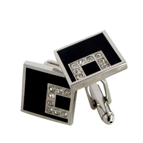 Skque Classic Elegant Clear Crystal Men's Business Suit Wedding Party Cufflinks, Black