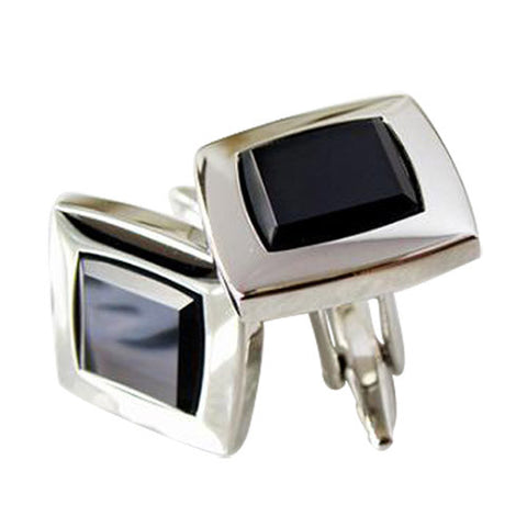 Skque Elegant Classic Stylish Blue Crystal Men's Business Suit Wedding Party Cufflinks, White & Black