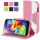 Flip Magnetic PU Leather PC Protector Case Wallet for Samsung Galaxy S5, Pink