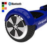 "Skque® 6.5"" Two Wheel Smart Self Balancing Electric Scooter with Wireless Bluetooth Speaker and LED Lights, Blue"