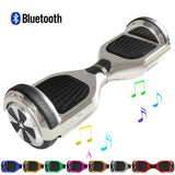 "Skque® 6.5"" Original Chrome 2 Wheel Self Balance Electric Scooter with BT Speaker & LED & Bumper Stripe, Silver"