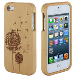 Skque Natural Wood Wooden Dandelion Pattern Hard Case Cover for Apple iPhone 5