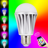 Skque® 7.5W Bluetooth 4.0 Smart LED Dimmable Multicolored Wireless Light Bulb E27 Tip