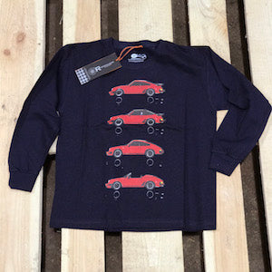 Red on blue long sleeve - kids